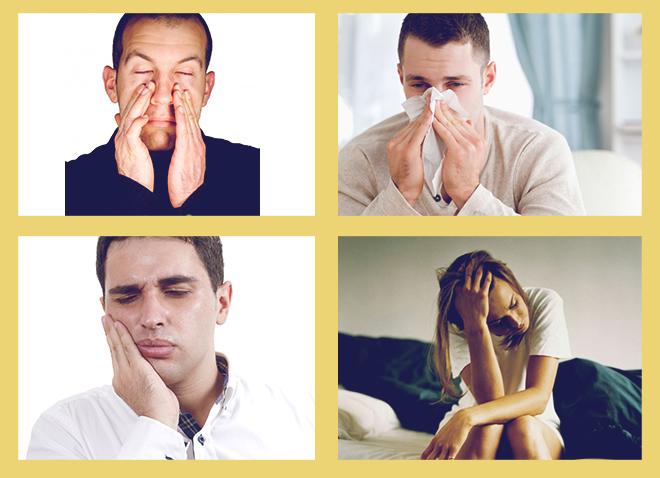сонливость, низкая трудоспособность, Боли в гайморовых пазухах;, боли в деснах.