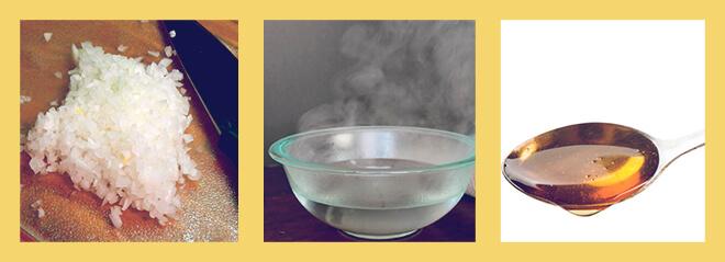 Кипяченая вода, ложка меда, мелко нарезанный лук