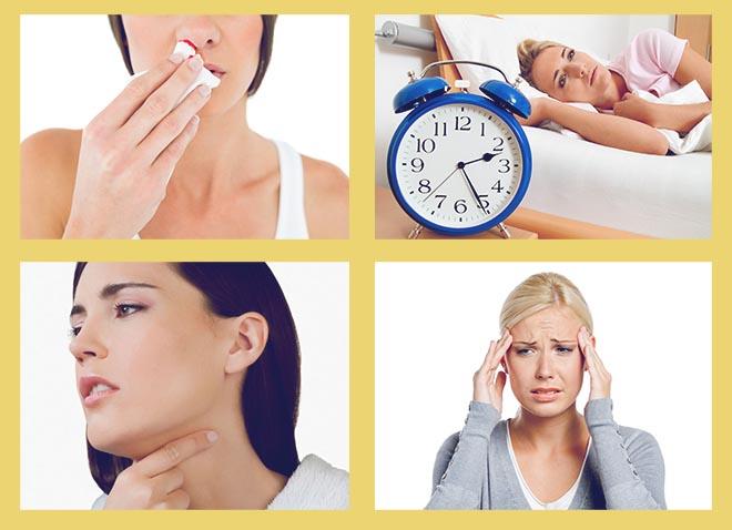 кровь из носа, нарушение сна, боль в горле, головная боль