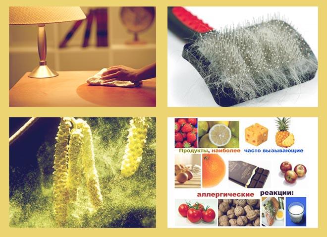 пыль, пыльца растений, пух и шерсть животных, облигатные продукты