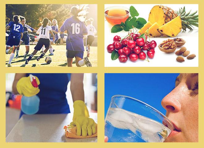 Занятие спортом, правильное питание, влажная уборка, ледяная вода