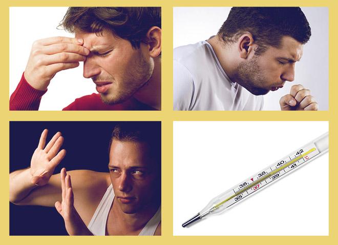 боль в переносице, кашель, светобоязнь, температура 38 - 39