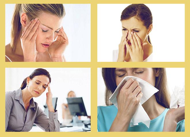 боль в висках, боль в пазухах, усталость, выделения из носа