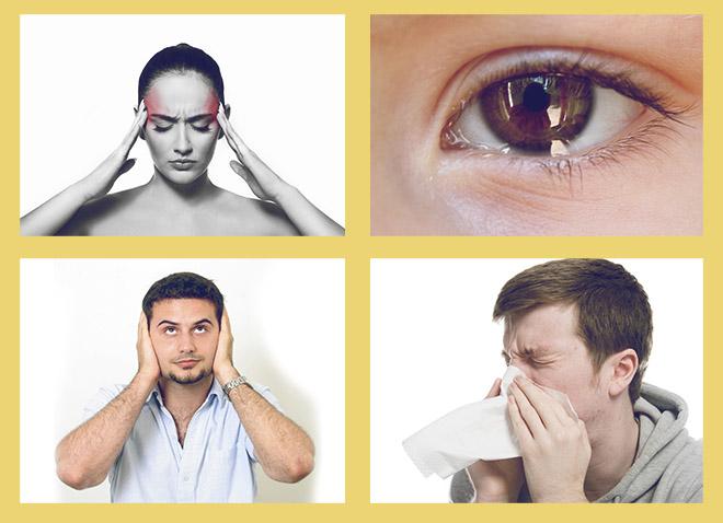 мигрень, слезящиеся глаза, заложенность ушей, частое чихание