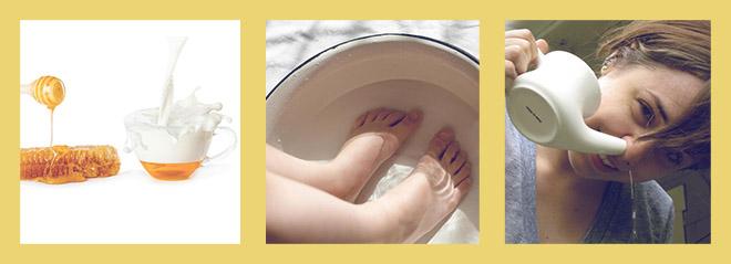 молоко с медом, ванны для ног с гарчицой, промывание носа