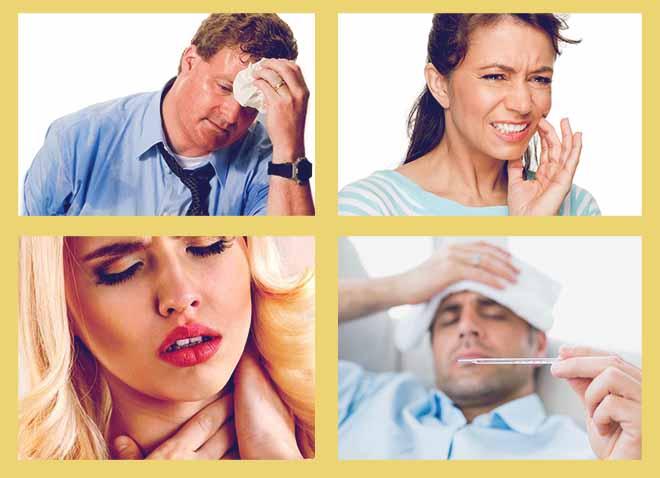 держит градусник, боль в зубах, болит горло, потовыделение