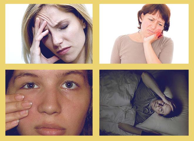 головная боль, боль в зубах, боль в пазухах при касании, плохой сон