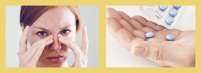 заложен нос, таблетки в руки