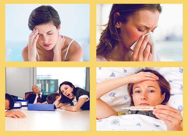 болит голова, насморк, сонливость, повышенная температура
