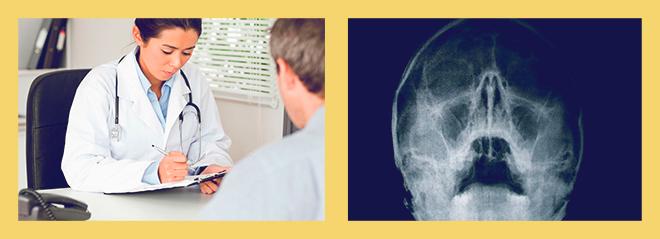 осмотр врача, рентген пазух