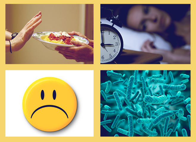 потеря аппетита, плохое настроение, проблемы со сном, вирусные инфекции